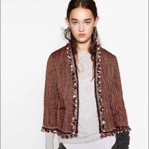 Zara red tweed Pom Pom jacket